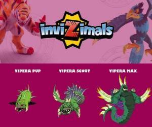 Vipera in drei phasen Vipera Pup, Vipera Scott und Vipera Max, Invizimals puzzle