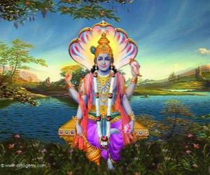 Vishnu, der bewahrer gott im Trimurti puzzle