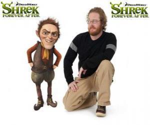 Walt Dohm stellt die Stimme des Rumpelstilzchen, in der neueste Film Für immer Shrek puzzle