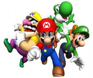 Wario, Mario, Yoshi und Luigi puzzle