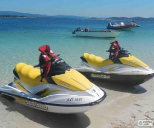 Wassermotorräder, Wasser-Scooter, Jetboot. Freizeitangebot Wasserfahrzeugen puzzle