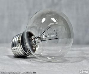 Weißglühende Glühlampe puzzle