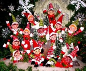Weihnachten Elfen Gruppe puzzle