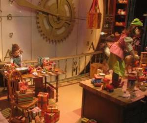 Weihnachten Elfen machen Spielzeug für Geschenke puzzle