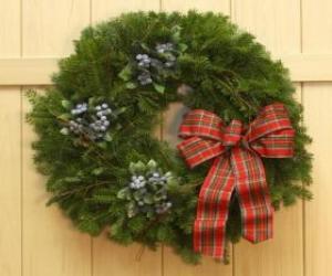 Weihnachten Kranz an der Tür eines Hauses puzzle