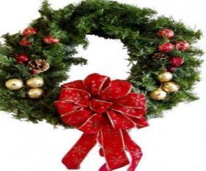 Weihnachten Kranz geschmückt mit einer großen Band und Kugeln puzzle