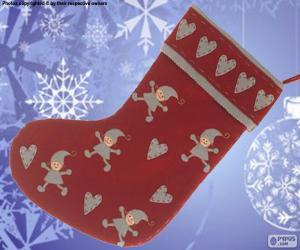 Weihnachten mit den Elfen und Herzen dekoriert Socke puzzle