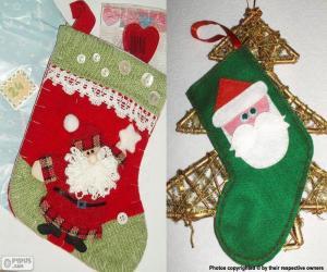Weihnachten Socken dekoriert mit Weihnachtsmann puzzle
