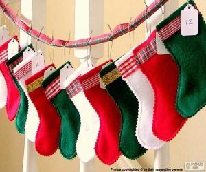 Weihnachten Socken in verschiedenen Farben puzzle