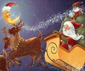 Weihnachts schlitten durch magische rentier gezogen und mit geschenken, Santa Claus und eine elfe puzzle