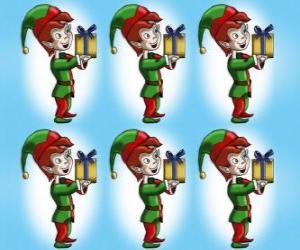 Weihnachtself  trägt der einen kasten eine geschenke puzzle