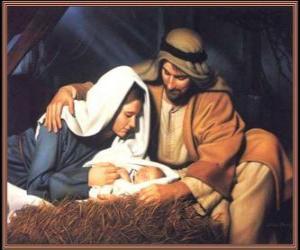 Weihnachtsgeschichte - Die Christkind mit seiner mutter Maria und sein vater Joseph puzzle