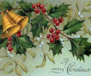 Weihnachtsglocken verziert mit stechpalmeblättern puzzle