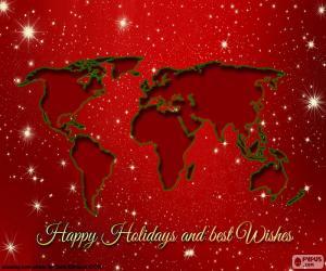 Weihnachtsgruß, Weltkarte puzzle