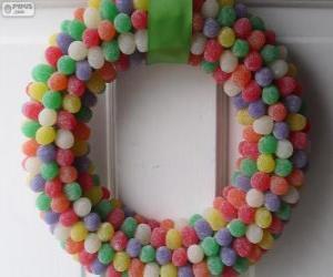 Weihnachtskranz Bonbons puzzle