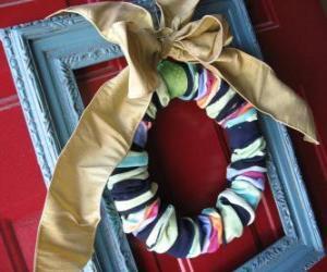 Weihnachtskranz gemacht mit Socken puzzle