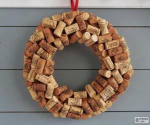 Weihnachtskranz gemacht mit Korken puzzle
