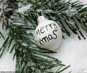 Weihnachtskugel, Merry Xmas puzzle