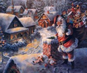 Weihnachtsmann auf dem Dach eines Hauses neben einem kamin puzzle