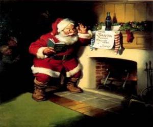 Weihnachtsmann einer Notiz von Kamin puzzle