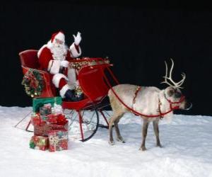 Weihnachtsmann einwirkenmit seiner hand von der magischen schlitten puzzle