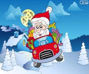 Weihnachtsmann fährt ein Auto puzzle