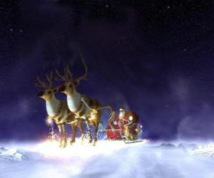 Weihnachtsmann fliegen auf seinem Weihnachts schlitten zog durch magisches rentieren puzzle