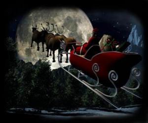 Weihnachtsmann in seinem magischen schlitten gezogen von fliegenden rentieren in der Weihnachtsnacht puzzle