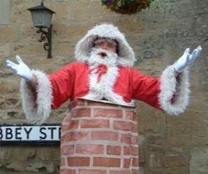 Weihnachtsmann mit den problemen zum den schornstein durchzulaufen puzzle