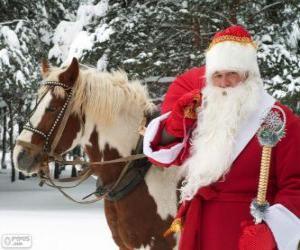 Weihnachtsmann neben einem Pferd puzzle