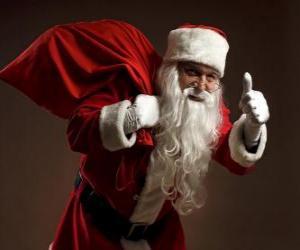Weihnachtsmann oder Santa Claus Durchführung der Tasche von Spielzeug-und Walking verstohlen puzzle