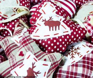 Weihnachtsschmuck, Stoff puzzle