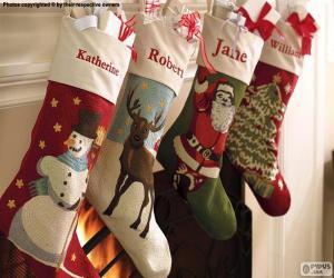 Weihnachtssocken mit dekoration puzzle