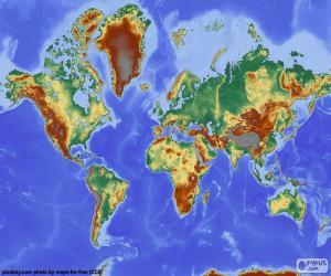 Weltkarte mit Relief puzzle