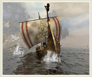 Wikinger-Schiff oder Langschiff zu segeln geschwollen durch den Wind puzzle