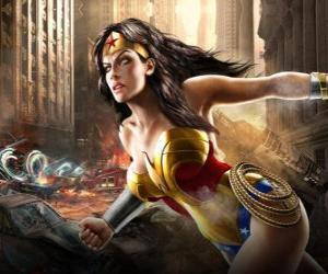Wonder Woman ist ein unsterbliches superheroine mit ähnliche Befugnisse wie Superman puzzle