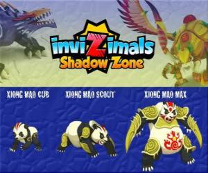 Xiong Mao Cub, Xiong Mao Scout, Xiong Mao Max. Invizimals Schattenzone. Dieser riesige Kreatur ist der erste Hüter des Grabes des Drachenkaisers puzzle
