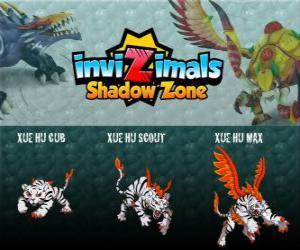 Xue Hu Cub, Xue Hu Scout, Xue Hu Max. Invizimals Schattenzone. Der weiße Tiger des Himmels ist die vierte bewachen das Grab des Drachenkaisers und die mächtigsten puzzle