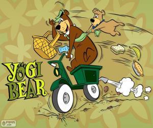 Yogi und Boo-Boo Bären auf einem Motorrad puzzle