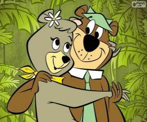 Yogi und Cindy, zwei Liebende Bären in den Park Jellystone puzzle