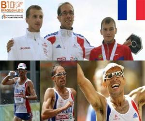 Yohann Diniz 50 km zu Fuß Champion und Sergey Bakulin Grzegorz Sudol (2. und 3.) der Leichtathletik-Europameisterschaft Barcelona 2010 puzzle