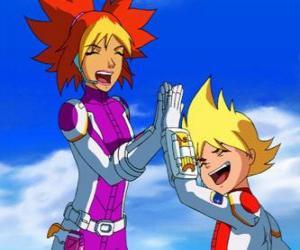 Yoko und Brett, um ihre Raumanzüge, sie sind zwei der Mitglieder von Team Galaxy puzzle