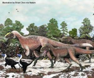 Yutyrannus mit fast 9 Metern Länge ist der größte Dinosaurier mit Federn bekannt puzzle