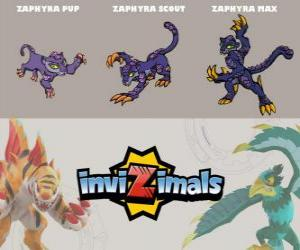 Zaphyra in drei phasen Zaphyra Pup, Zaphyra Scott und Zaphyra Max, Invizimals puzzle