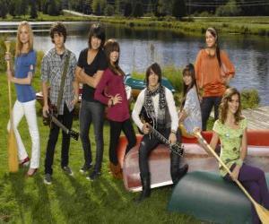 Zeichen in Camp Rock Tess, Nate, Shane, Mitchie, Jason, Ella, Peggy und Caitlyn puzzle