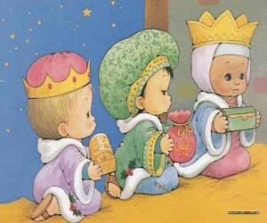 Zeichnung von drei Kindern, als die Heiligen Drei Könige gekleidet von Orient puzzle