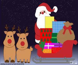 Zeichnung-Weihnachtsmann-Schlitten puzzle