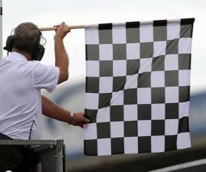 Zielflagge, ist diese Flagge am Ende des Rennens gezeigt puzzle