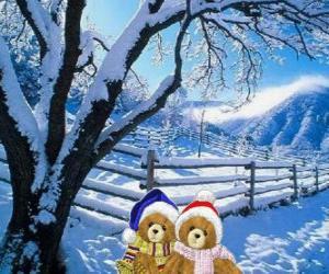 zwei Bären sehr warm in eine weihnachtliche Landschaft puzzle