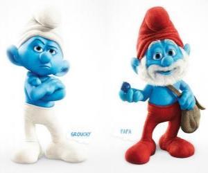 Zwei Figuren im film Die Schlümpfe - Muffy und Papa Schlumpf - puzzle